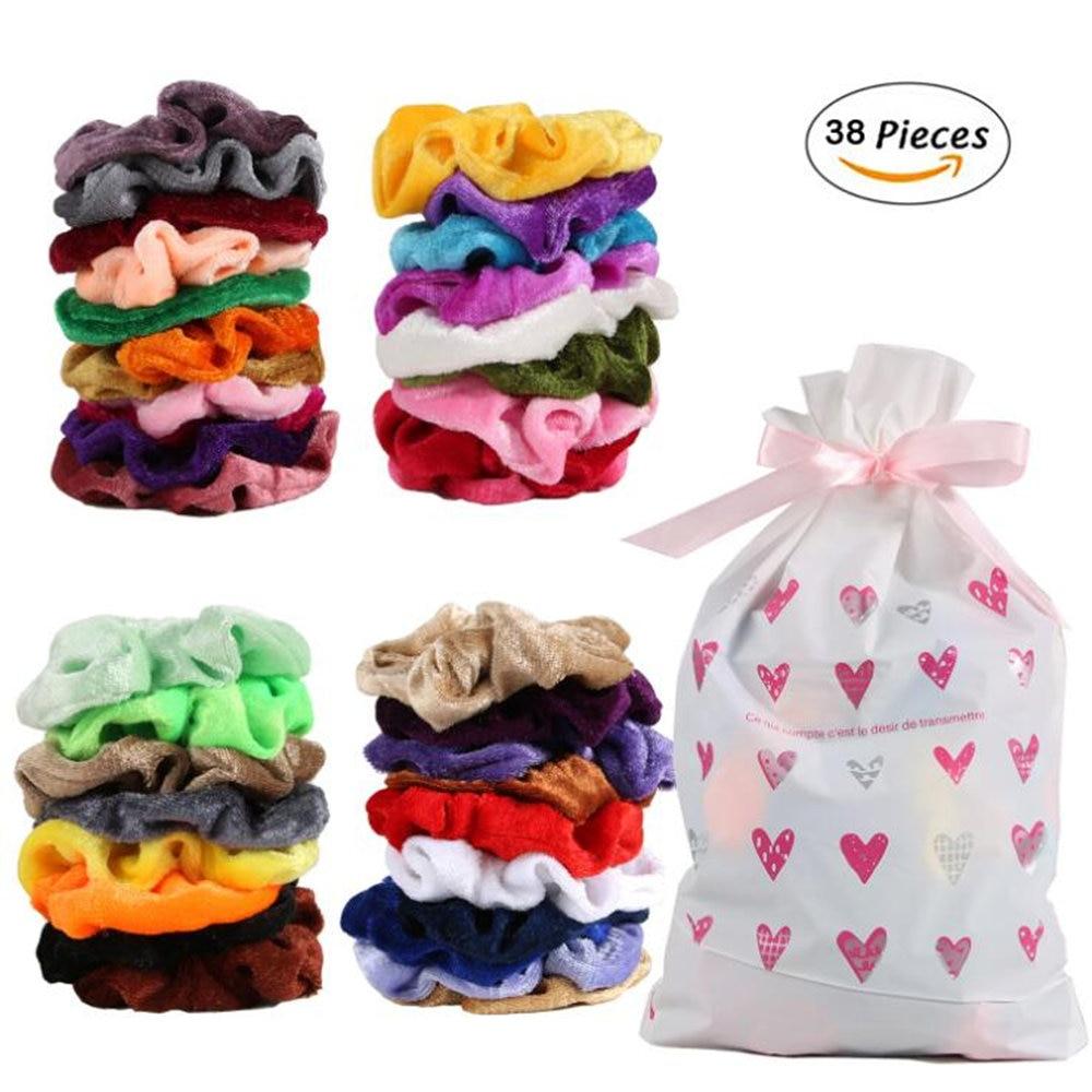 Hair Scrunchies Elastic-Hair-Bands Rubber Girl Headwear Velvet Plain Stretchy Women 50-Colors