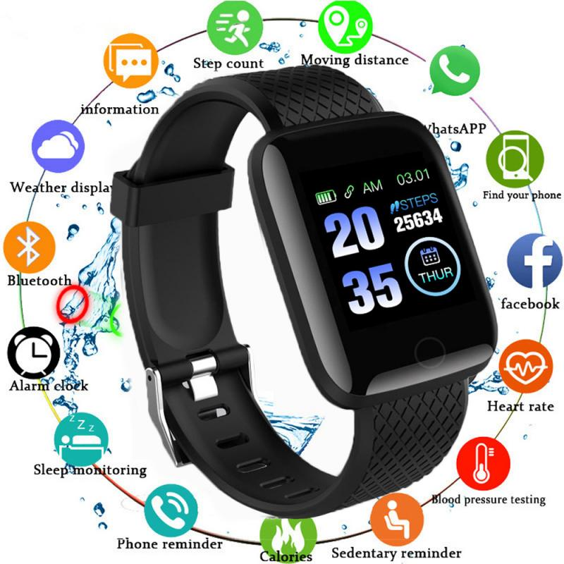 Monitor Band Fitness Tracker Wristbands Wearable Devices Pedometers 116Plus Smart Band Watch Bluetooth Heart Rate Blood Pressure 1