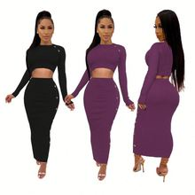 Outfits for Women 2 Piece Set Sexy Dress Buttons Decorate Knitted Solid Crop Top Long Pencil Skirt Women Clothing Two Piece Set 2019 two piece set women crop top sexy off shoulder slim bodycon nigthclub pencil dress women long sleeve 2 piece outfits