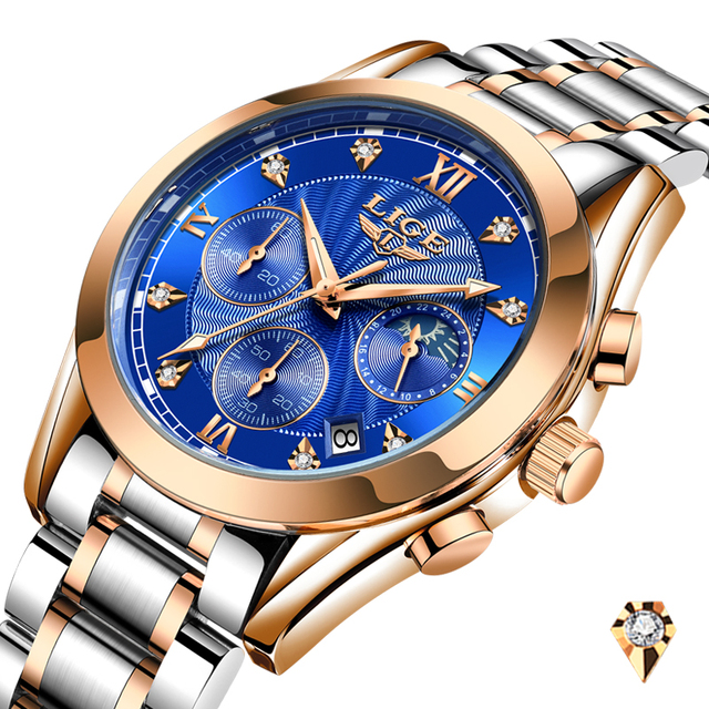 2021 New LIGE Classic Women Quartz Watch Waterproof Stainless Steel Watchstrap Fashion Women Watch Gift Date Clock Dropshipping 6