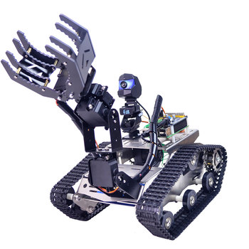 Programmable TH WiFi Tank Robot Car Kit with Arm for Raspberry Pi4 (2G)-Line Patrol Obstacle Avoidance Version Large/Small Claw