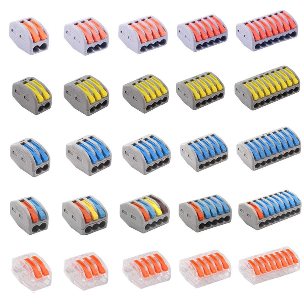 1-10 Universal Electrician Fast Wire Connector Terminal Electrico Block Compact Wiring Splicing Conector Eletrico Tool Set China