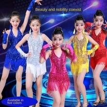 2020 vestido flecos Latino Sexy baile latino Salsa Ropa de baile Samba traje de baile para niños vestido de baile latino para niñas