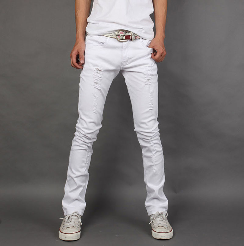 2018 Four Seasons Pure White With Holes Men Casual Trousers Micro Elastic Teenager Versatile Solid Color Trousers Men's Hot Sell