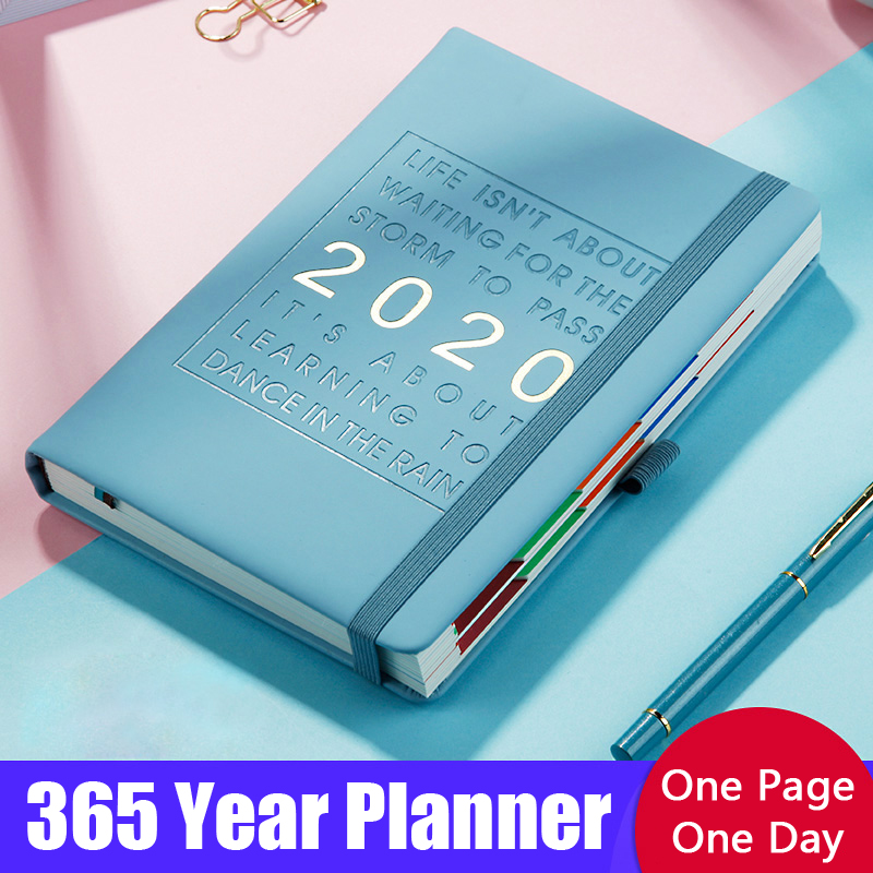 Agenda 2020 A5 Paper Notebook Diary Organizer PU Leather 365 Year Monthly Planner Notepad Bullet Journal Stationery Carnet