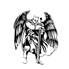 DAWASARU Handsome Warrior Knight Angel Decal Black/Silver Covering The Body Silhoutte Car Sticker Vinyl Car Accessories 12*15CM b0103 angel wings style pvc car body sticker silver