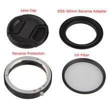 4in1 Macro lente dinversione anello di protezione kit per Canon 5d 6d 6dII 7D 60d 70d 77D 550d 600d 650d 700d 800D 1200d 100d 200D