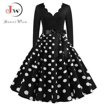 Women Vintage Long Sleeve Christmas Dress Winter Plus Size Swing Elegant Lacework Party Dress Robe Casual Black Print New Year 1