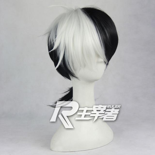 Jeune noir Jack Cosplay perruque noir et blanc queue de cheval cheveux synthétiques Anime Costume jeu de rôle perruques