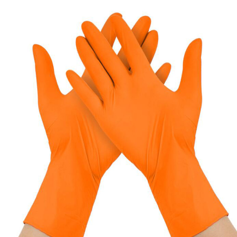 100pcs/lot  Gloves Disposable Latex  Rubber Medical Anti-virus Household Cleaning Experiment Catering Orange Gloves LS017