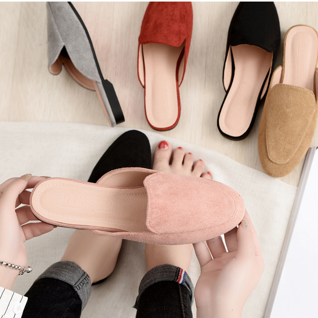Women Slipper Shoes Half Slippers Mules Flats Shoes 2019 New Female Casual Ponited Flats Loafers Solid Color Mules Flat