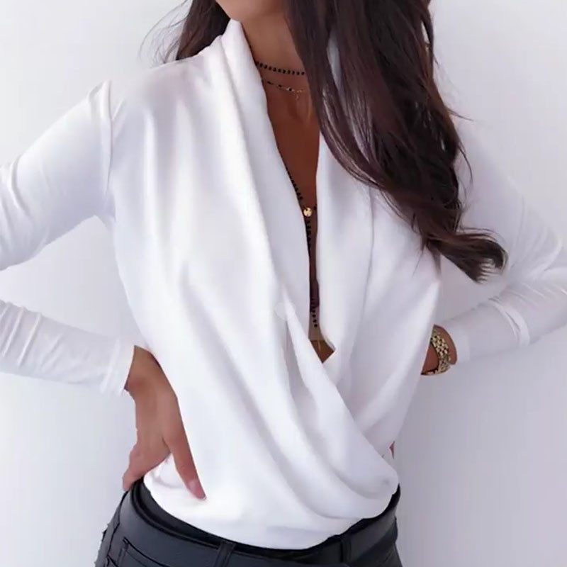 Nadafair Black Women Blouse Notched White Sexy Long Sleeve Shirt Fashion 2019 Pink Tops And Blouses Women