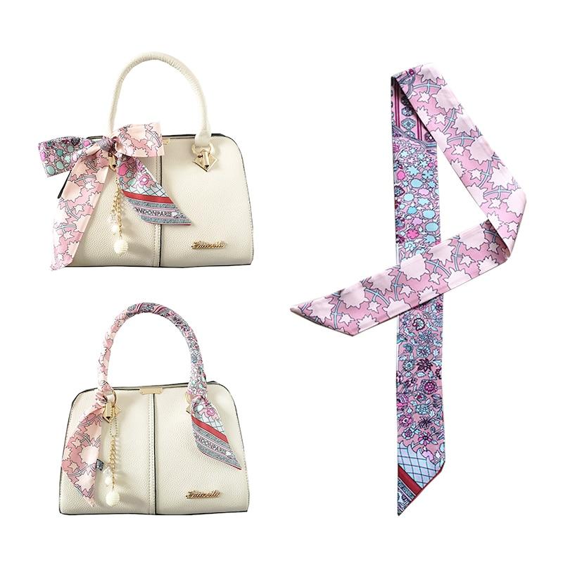Luxury Long New Skinny Scarf BrandFor Women Floral Print Long Bag silk Scarf Handle Bag Ribbons Head Scarves Best Gift