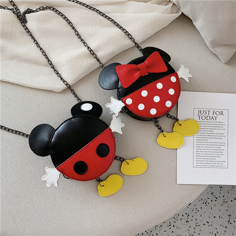 Disney Mickey Minnie Gilrs Mini Leather Crossbody Bags Kids  Prints Princess  Children Holder Shoulder Bags Small Messenger Bag