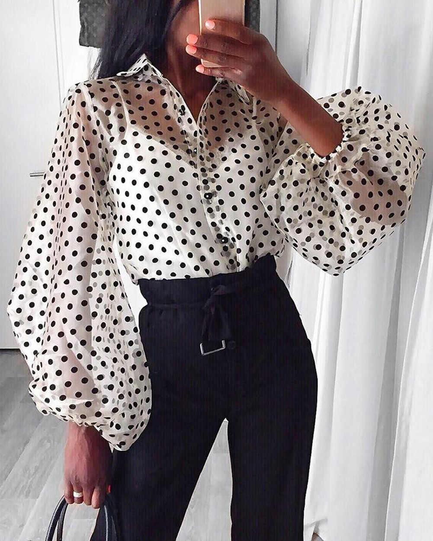 Las mujeres de malla pura Top largo manga Puff transparente blusa camisa Polka Dot imprimir blusa Camisas Mujer Camisetas Tops Streetwear
