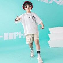 Crianças Trajes para Meninos Das Meninas do Desgaste da Dança Jazz Hip Hop Branco T Shirt Calças Curtas Roupas De Salão Desgaste Moderno Espetáculo traje de dança