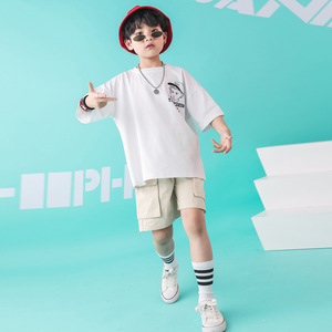 Image 1 - Kids Dance Wear Jazz Hip Hop Costumes for Girls Boys White T Shirt Short Pants Modern Show Clothes Wear Ballroom Dancing Costume