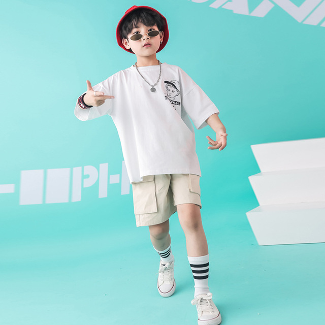 Kids Dance Wear Jazz Hip Hop Costumes for Girls Boys White T Shirt Short Pants Modern Show Clothes Wear Ballroom Dancing Costume