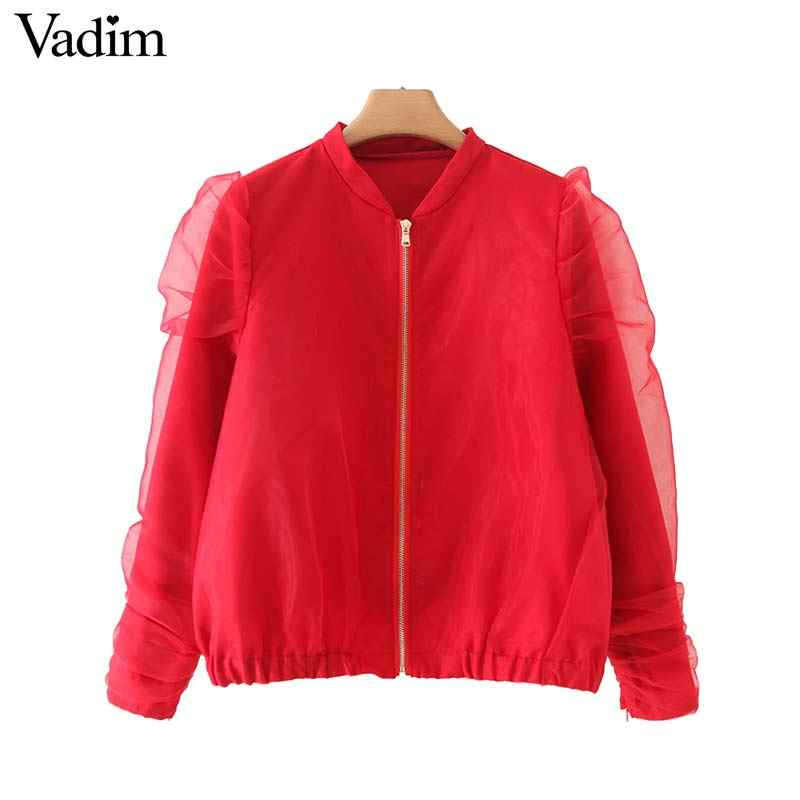 Vadim frauen elegante rote bomber jacke organza patchwork zipper fly mäntel langarm weibliche casual outwear tops CA562