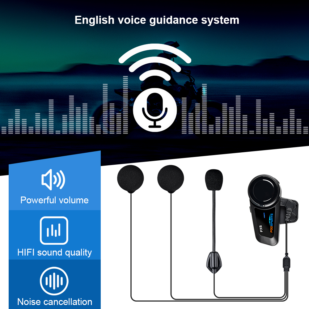 Fodsports FX6 Helm Intercom Motorrad Drahtlose Bluetooth Wasserdichte Multi Sprech Helm Headset Intercomunicador Moto FM