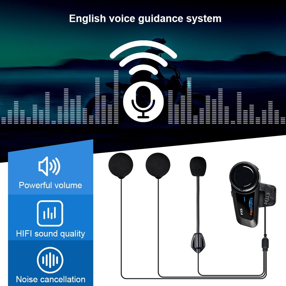 Fodsports FX6 hełmofonu motocykl bezprzewodowy Bluetooth wodoodporny wielu Interphone kask z zestawem słuchawkowym Intercomunicador Moto FM