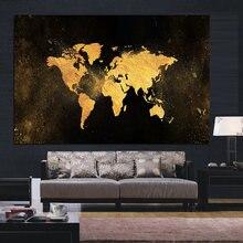 MUTU-affiche en toile de carte du monde en noir et or, abstrait moderne, Art mural nordique imprimé pour décoration de chambre d'enfant