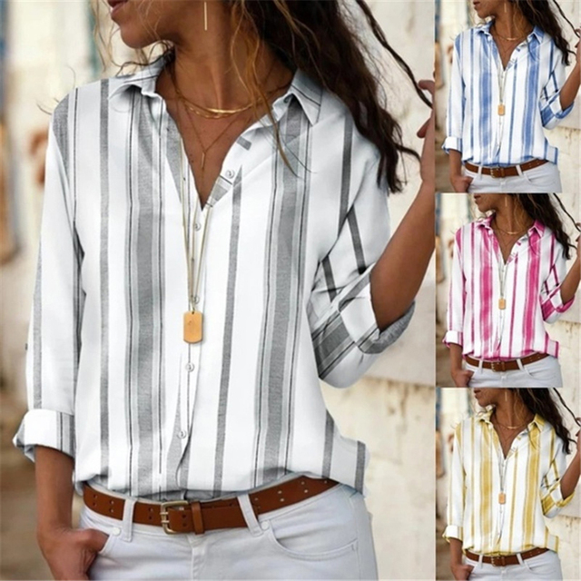 Spring Women Striped Blouse Shirt Chiffon Long Sleeve Turn Collar Female Top Chothes Casual Plus Size 5XL Loose Girls Blouses 1