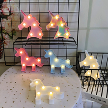 Cartoon Unicorn Night Lights LED Table Lamp For Kids Childrens Bedroom Decoration Baby Birthday Gifts