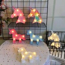 Karikatür Unicorn gece ışıkları LED masa lambası çocuklar için çocuk odası dekorasyon bebek doğum günü hediyeleri