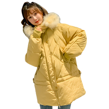Brieuces Fur Hooded Winter Jacket Women Thick Parka Female Dobby Long Coat Down Cotton Lady Wadded