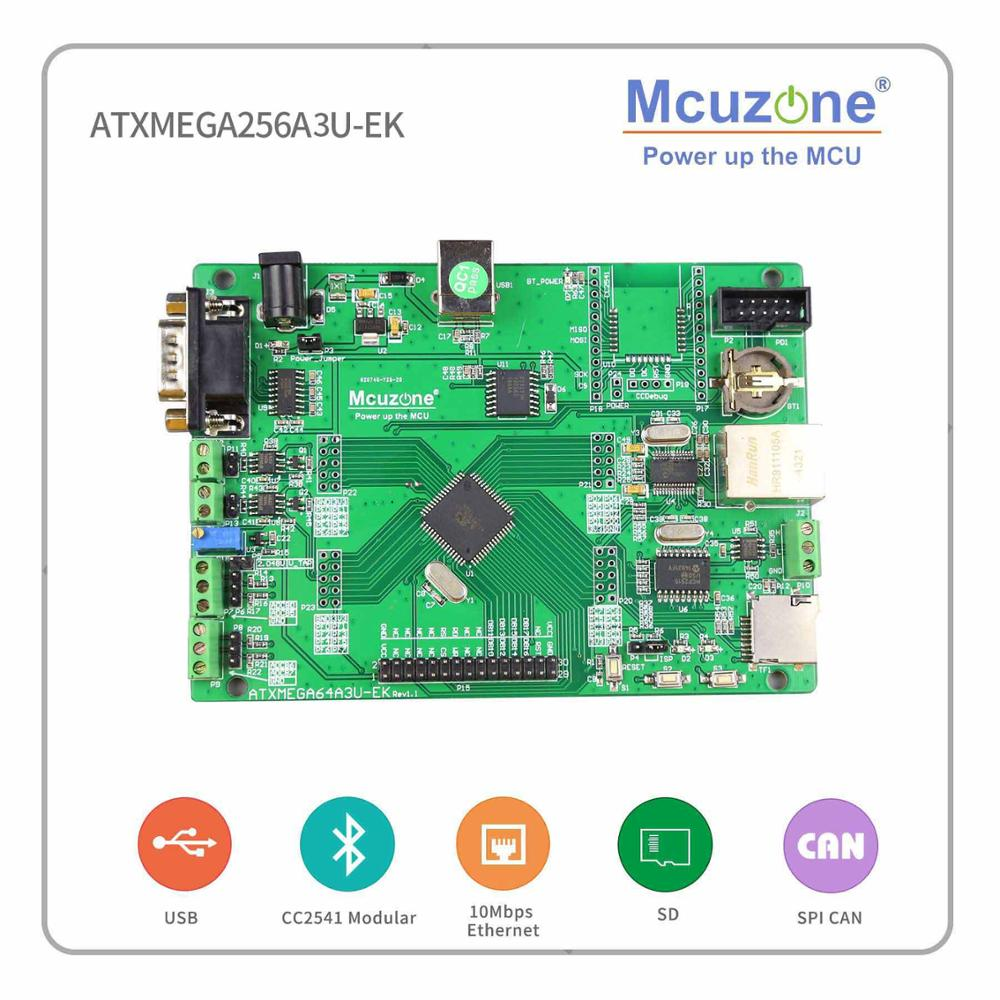 ATxmega256A3U-EK-T28 Development Board, 320*240 2.8LCD 12Bit ADC And DAC,7 USARTs, PDI, USB Device, XMEGA, Ethernet, CAN, RTC