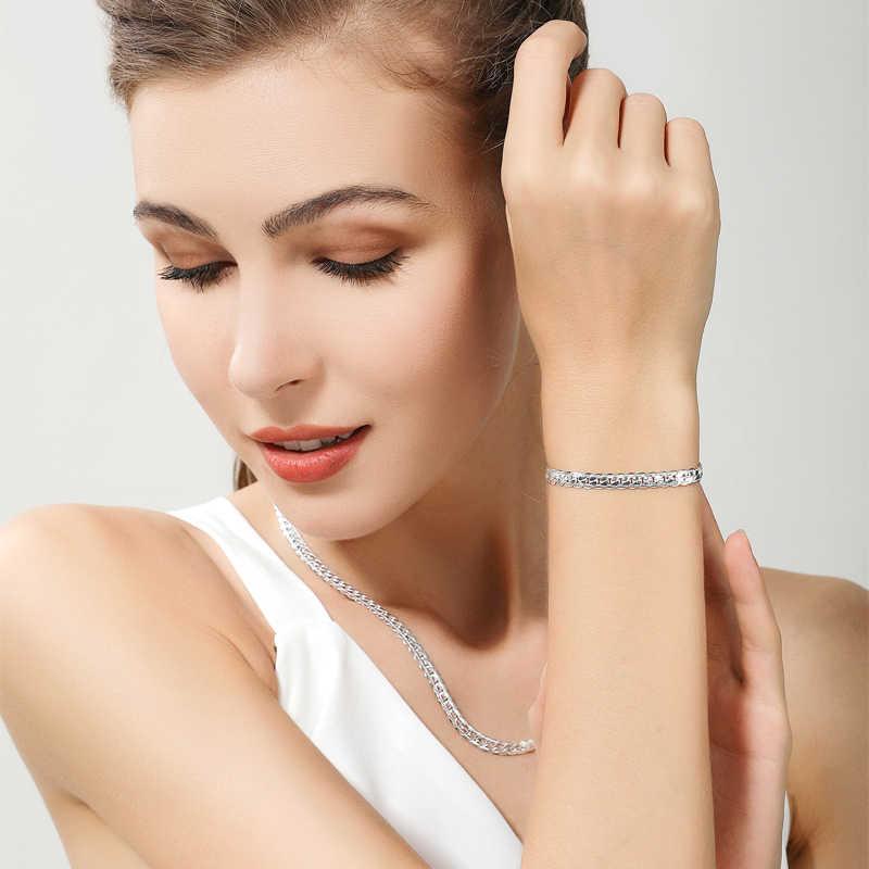 Prix de gros 6MM plein côté collier Bracelet ensembles 925 argent bijoux ensembles pour femme hommes de haute qualité