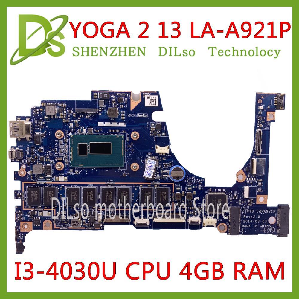 KEFU LA-A921P MAINBOARD For Lenovo YOGA 2 13 Laptop Motherboard FRU 5B20G19207 LA-A921P With I3-4030U CPU 4GB RAM Original