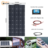100W Monocrystalline Semi flexible Cells Solar Panel Solar Module System Kit + 12v 10A PWM controller Battery Charger Water