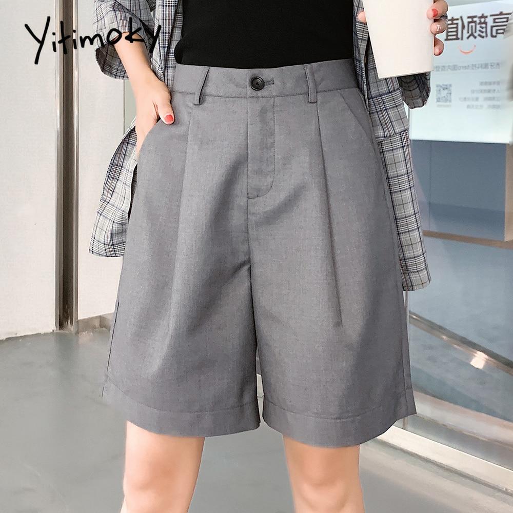Black Shorts Woman Plus Size 5XLOffice Lady Solid Harajuku High Waist Shorts Womens Clothing Fashion Women Korean Wide Leg Loose