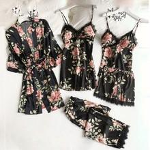 Seksowna koronkowa bielizna nocna komplet piżamy intymna bielizna damska satynowy szlafrok zestaw snu 5 sztuk szlafrok Kimono aksamitna miękka Homewear bielizna nocna tanie tanio CN (pochodzenie) POLIESTER Floral Wiosna Powyżej kolana mini Pełne Normalna Sleepwear