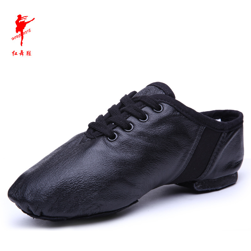 Adult Dance Shoes Genuine Leather Jazz Shoes Folk Dancing Shoes Soft Bottom Practice Shoes Indoor Jump Red Dance Shoes Wholesale