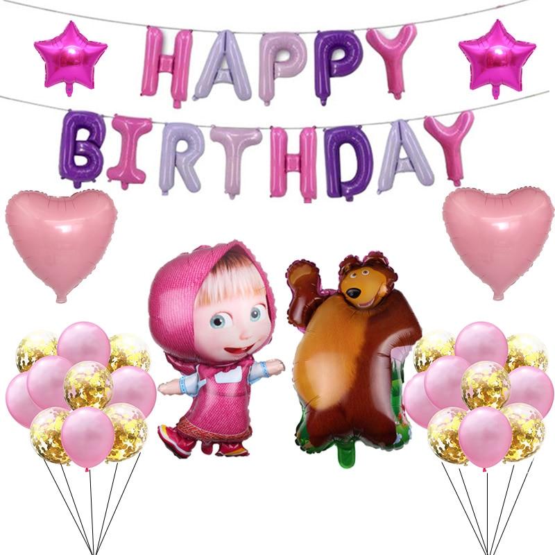 Вечерние воздушные шары «Маша и Медведь» для девочек «Маша и Медведь», «День рождения», поставщики розовых балонов для детей 3, 5, 2, 1 лет|Воздушные шары и аксессуары|   | АлиЭкспресс