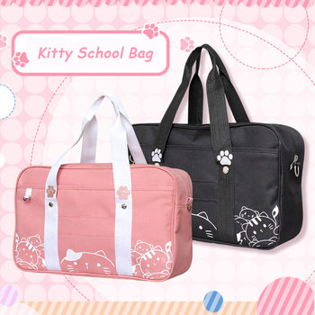 Kawaii Japanese Style Cat JK Uniform Handbag Crossbody Canvas Bag Women Lolita Anime Cosplay School Girls Messenger Shoulder Bag japanese women ladies girls preppy style handbag lolita bowknot shoulder bag jk uniform messenger bag 3 way daypack school bag