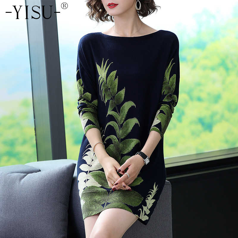 YISU Etero dress 2019 Autunno Inverno Slash neck Manica Lunga Maglioni Donne Verde foglia modello Stampato knit dress