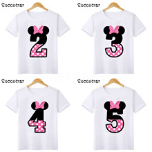 Baby Girls Happy Birthday Letter Bow Cute Print Clothes Children Funny T shirt,Kids Number 1-9 Birthday Present,HKP2416 boysgirls happy birthday letter number 1 9 birthday present cartoon t shirt kids funny clothes children summer baby t shirt