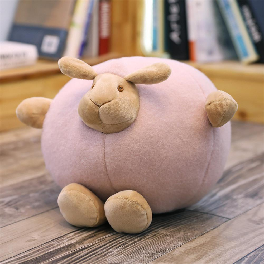 Cute Cartoon Round Ball Stuffed Sheep Plush Throw Pillow Toy Decoration