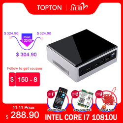Topton Mini PC Intel Core i7 10810U 10710U 2*DDR4 M.2 SSD NVMe Windows 10 Dual-band WiFi HDMI DP 4K HTPC NUC Type-C 2*Ethernet