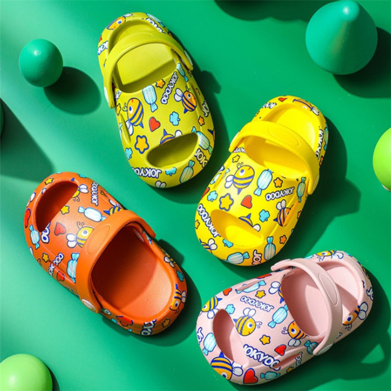 Summer baby boy and baby girl crocodile mouth sandals flat bottomed cartoon beach antiskid slippers 1-5y children's garden shoes