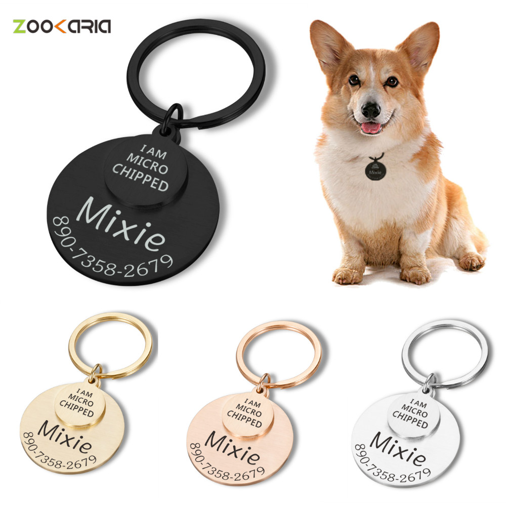 Personalized Dog Cat ID Tag I Am Microchipped Dog Name Number Tag Stainless Steel Pet Id Tag  Dog Collar ID Tag Laser Engraving