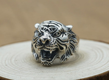 925 Sterling Silver Ring tiger head ring fashion Adjustable Retro Thai