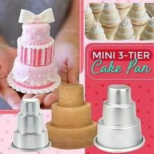 Mini Drie-Tier Toren Vorm Pudding Cake Cup Mold Muffin Bakken Biscuit Mold T1S6 Aluminium Anodiseren Cup Cakevorm Mold ba M R2U6