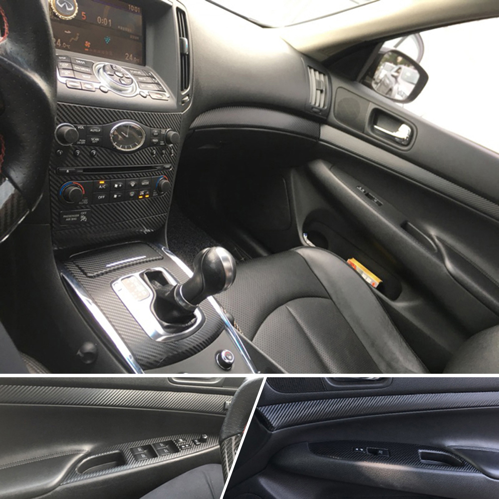 Car-Styling 3D/5D Carbon Fiber Car Interior Center Console Color Change Molding Sticker Decals For Infiniti G25 G37 2010-2017