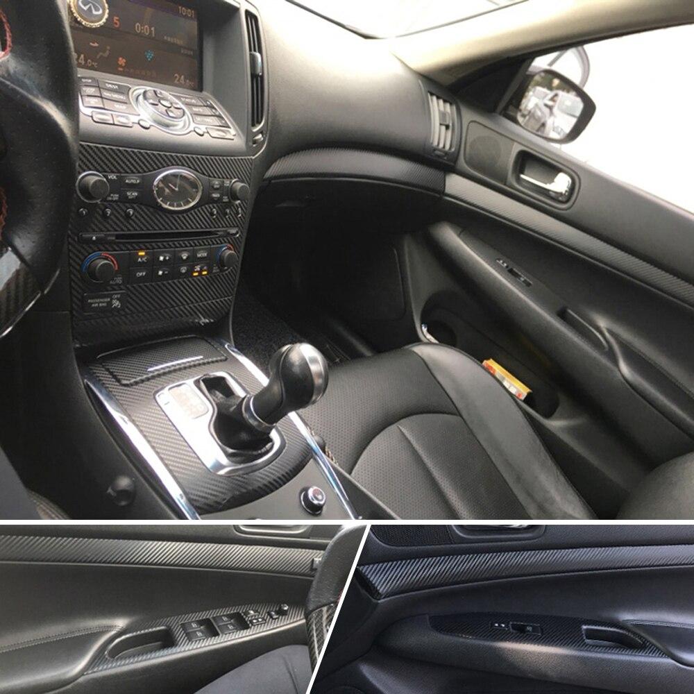 Car-Styling 3D/5D Carbon Fiber Car Interior Center Console Color Change Molding Sticker Decals For Infiniti G25 G37 2010-2017