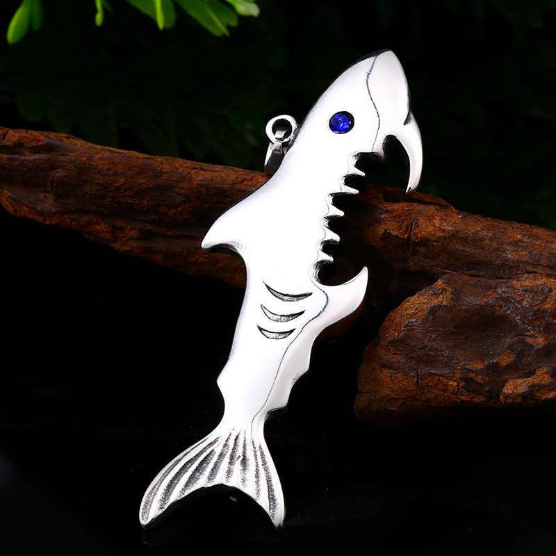 באייר 316L נירוסטה אופנה כריש כחול אבן תליון שרשרת בקבוק פותחן פאנק באיכות גבוהה תכשיטי LLLHP094P